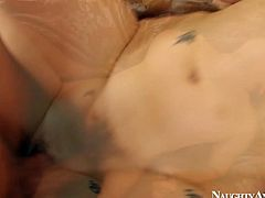 Sextractive milf Aiden Starr gets her tasty slit poked from behind