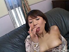 Hot tempered Japanese mature slut pounds her beaver with dildo in missionary style before a young fucker eats her vagina with pleasure. Later she pays him back with a zealous mouth fuck until he sprays her mouth with creamy cum.