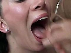 Well this British chic with big boobs is the way too voracious and horny. After tickling her wet pussy this bitch kneels down for providing two cocks with a stout blowjob to fill her mouth full with sperm.