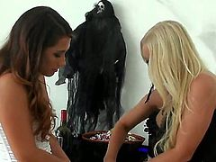 Two most amazing babes in he history of lesbian movies Eva Lovia and Molly Cavalli dress up like lovely Cupids, and looking for something interesting to do together.