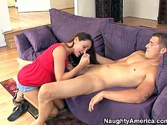 Buff guy gets naked and prepares his big cock for a blowjob. Michelle gets on her knees and fills her filthy mouth with that tasty manly meat.