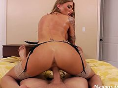 Sassy light haired bitch with some cool tattoos on her curvy body Juelz Ventura rides one thick dick and later gets her swet cunt drilled doggystyle.