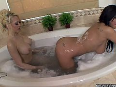 They are horny and eager to play with their wet pussies during naughty bath