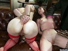 James Deen is having fun with Violet Monroe and her cute GF. He ties the hotties up and makes them please each other with fisting before he destroys their holes with his massive prick.