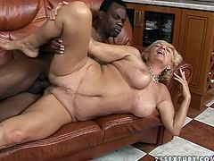 Horny and naughty mature lady and she is so fucking rich that she can afford herself a huge black cock. So this dude is a call guy, who fucks for money.