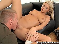 Just look at this hot and sexy blondie! Her boobs are big and appetizing. Her ass is smooth like silk. After getting rid of pink top and jeans skirt voracious nympho stretches legs wide to get her juicy pussy licked and spooned on the couch for lots of delight.