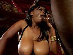 Curvy black whore with gigantic natural hooters in leather corset and boots gets her shaved cunt pounded hard by her randy hubby with six pack and long rock hard shaft