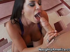 Savannah Stern is a naughty girl and she will fuck her man Chris Johnson anywhere in the house. She gobbles him up in the kitchen, gives him a taste of her snatch and then sits on that big rod.