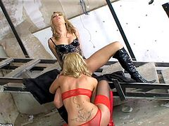Attractive young blonde babes Blue Angel and her Sophie Moone with smoking hot fit bodies in black and red lingerie get naughty and enjoys making out at amazing photo shoot