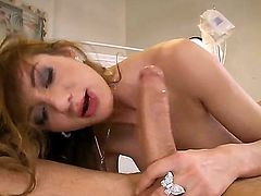 Alice Romain starts the scene with amazing blowjob, than proceeds with classic vaginal sex and then she sticks this dick  up her ass while shes in cowgirl position.
