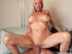 Impressively hot blond head loves riding a dick. This busty hooker moans feeling a deep and tough penetration of the tool into her vagina. Dude, you just need to see this awesome babe in Naughty America sex clip to jizz at once.