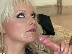 Short haired young blonde hotite Alexandra Cat with sexy body gives head to her experienced partners and gets fucked hard in the ass on couch in hardcore threesome filmed in close up