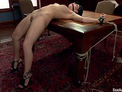 Amazing Brooklyn Lee lies on the table sucking a cock and getting ass fucked. Later on she gets tied up and fucked again.