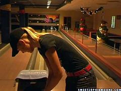 Gorgeous and sexy blonde lesbian babes Wivien and her friend enjoy in teasing the boys with their hot bodies as they play with balls in the bowling room and have fun