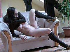 Super hot black haired woman with huge ass and stout tits exposes all of her goodies almost naked. Take a look at her glorious rack and enjoy!