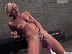 Watch this slutty blonde in a solo scene while she gets her wet hole fucked by the powered cock machine in different positions. Wait no more and check out this clip!