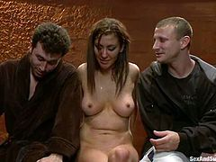 Slim brunette gets tied up and face fucked. Later on the guy whips the girl and fingers her ass. After that she gets pounded in her ass.