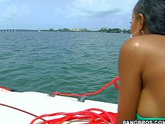 Lacey Duvalle is one charming dark skinned porn diva on a blind date woth white guy next door. Sexy Lacey Duvalle with bubble ass and juicy tits leaves nothing to imagination in her tiny bikini. Watch them have fun on a boat.