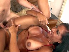 Viana Milian is a smoking hot milf with tanlined ass and boobs, Big boobed dark haired experienced bitch takes guys hard cock so deep in her shaved pussy. Watch horny mom get slam fucked
