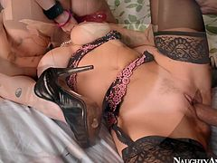 Two nasty bitches with jaw dropping boobs serve one tattooed guy. One babe licks pussy and gets her pussy drilled hard from behind at the same time.