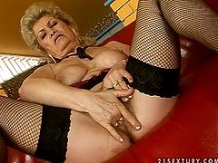 This busty granny gets naked and polishes that huge cock. Effie is so fucking naughty and so damn hungry that she wants even more.