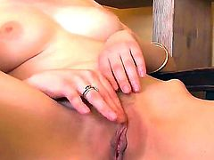 Bewitching Bree Daniels is fingering her horny trimmed pussy until it is dripping with nectar