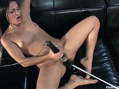 This hot brunette wants to experience the hard banging of the sex machines. Will she succeed? Check out her mind-blowing video and find out!