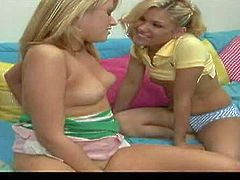 Turned on naughty blonde sluts Aubrey and Sindee Jennings with natural boobs and firm asses in sexy undies and get filmed in point of view by Jerry while pleasuring each other