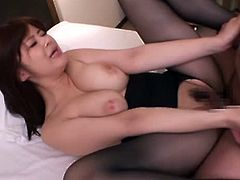 Beautiful Japanese chick Ramu Hoshino favours her man with a blowjob and a titjob. Then she sits down on his prick and takes a good ride on it.