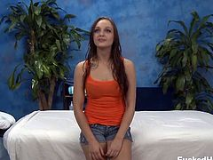 Anne Melbourne gets naked and ready for her full body massage. Her massage therapist crosses the line by massaging her pussy and more.
