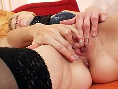 Spoiled Russian moms play dirty lesbian games wearing steamy lingerie and nylon stockings. They poke intensively each other's pussies using dirty spoiled fingers and kiss gently tight nipples.