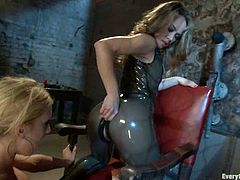 Stunning babes in latex toy and fist each others asses. After that both girls suck big hard cock and get ass fucked.