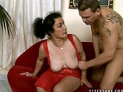 In fact, she is a granny with desires. She gets down on that huge cock and sucks it with passion. Then he bangs her in her tight and wet snatch.