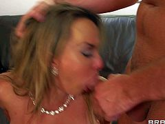 Holly Halston is a hot slutty woman gets fucked silly by horny man that loves her massive melons so much. Big breasted MILF takes his rod in her hot mouth before he drills her hairless mature pussy deep and hard.