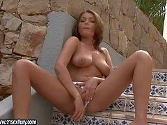 Topless babe Nelly Sullivan shows off her sexy juicy boobs under the open sky before she pulls her tight fit white panties side to dildo fuck her slit on stairs. Watch Nelly Sullivan play with her tight hole outdoors.