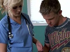 Kinky busty blond nurse wanna treat her patient in a brand new way. This bitchie hooker undresses, plays with her boobs, shows ass and desires to be fucked right from behind in the hospital room.