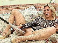 dirty blonde hotties Klarisa Leone and Nikky Thorne are sharing huge toy in softcore