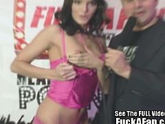 Jennifer Dark is part of the contest that allows ordinary men to fuck a pornstar. This time she fucks a chubby one.