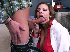 Milf doc Lylith has a special treatment she gives only to those that need it. She's a sexy mommy with a pair of big naughty boobs and a lustful mouth that she opens for cock. This time she has the occasion to treat Xander and gives him that treatment by kneeling and sucking his penis like a whore