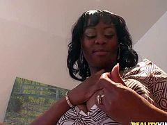 Attractive ebony babe with big natural hooters in summer dress and high heels gets aroused and starts polishing hairless wet cunny to prepare herself for dildo in quick office action