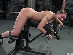 Have the pleasure of taking a look at this blonde's amazing body in this bondage clip where she's forced to suck and jerk off her master.
