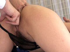 Amazing black haired pale brunette from Japan has nothing against threesome. Kinky blowlerina can easily make two dudes jizz. Anal fuck is what perverted girlie loves the most and enjoys feeling a dick penetration into her anus.