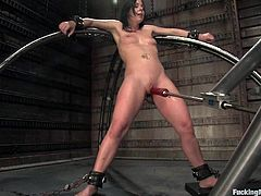 See how this horny brunette withstands so many orgasms in this hot scene where she's fucked by machines.