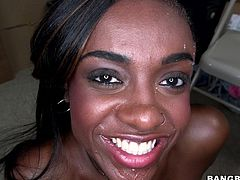 This black beauty heads to the back room so she can get fucked by her white boss. She rides him reverse cowgirl and his cock slaps against her juicy, round ass. After a good fucking, he pulls his dick out of her cunt. He jacks off and leaves a sticky stream of cum all over her beautiful black face.