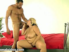 Busty big titted blonde bbw is having some fun with her trainer. She sucks him off and he stretched her big pussy like never before!