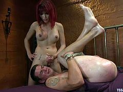 Captivating redhead shemale Eva Lin is playing dirty games with Jonny Blaze. She pets the man and then rips his awesome butt apart.