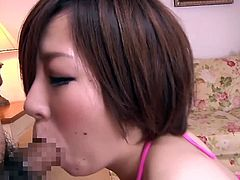 Lewd Japanese milf Kanade Tomose is gonna show her cock-sucking and tit-fucking skills. She plays dirty games with two men and makes their cocks explode with cum.