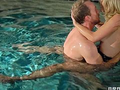 Charlee Monroe gets fucked hard and rough inside and outside the pool. She moans like a whore while he slides that hard dick inside her wet pussy.