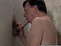 Hot mature guy with a full head of nice white hairs and a mouth that craves to suck the seed out of younger cocks so he is perfect for glory hole duty and the cocks just keep cumming back to deposit their loads.