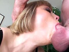 Slutty blonde with exciting brown eyes Adrianna Nicole takes Jonni Darkkos dick in the mouth and demonstrates amazing sucking techniques on the camera.